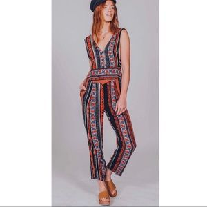 FREE PEOPLE MULTI COLOR PRINTED JUMPSUIT